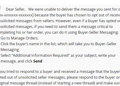 Amazon's Opt-Out of Buyer-Seller Messaging