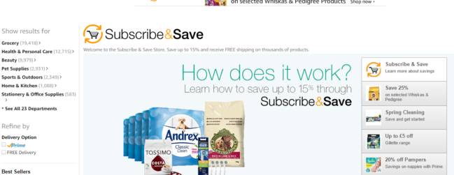 Amazon Subscribe and Save Store